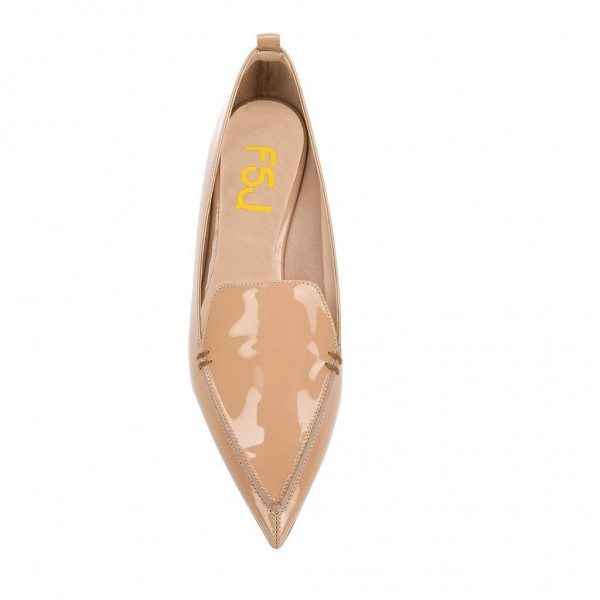 Nude Patent Leather Loafers for Women Trendy Pointy Toe Flats image 3