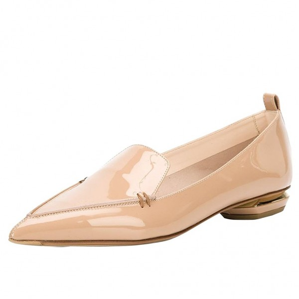 Nude Patent Leather Loafers for Women Trendy Pointy Toe Flats image 1