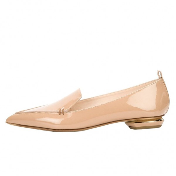 Nude Patent Leather Loafers for Women Trendy Pointy Toe Flats image 2