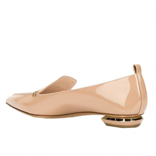 Nude Patent Leather Loafers for Women Trendy Pointy Toe Flats image 4