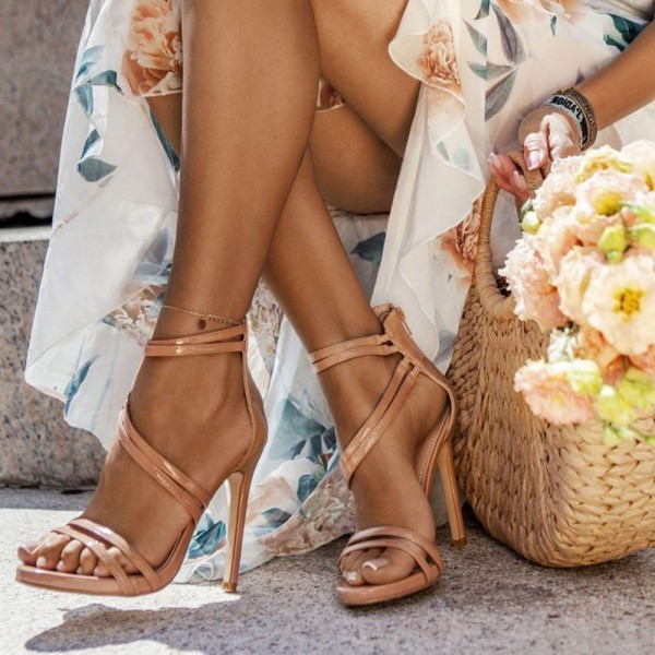 Nude Patent Leather Open Toe Stiletto Heels Ankle Strap Sandals image 1