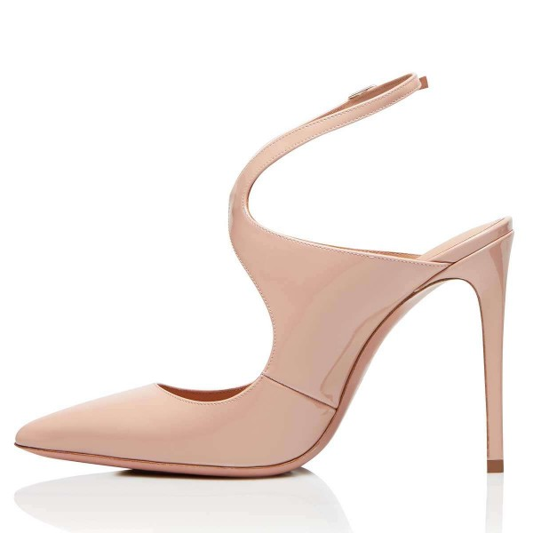 Nude Patent Leather Slingback Pumps Stiletto Heel Pointy Toe image 2