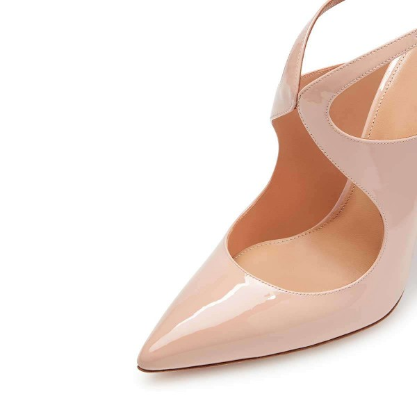 Nude Patent Leather Slingback Pumps Stiletto Heel Pointy Toe image 3