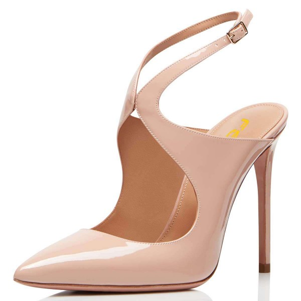 Nude Patent Leather Slingback Pumps Stiletto Heel Pointy Toe image 1