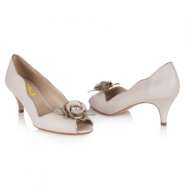 Women's Nude Bridal Heels Golden Rose Kitten Heels Pumps image 5