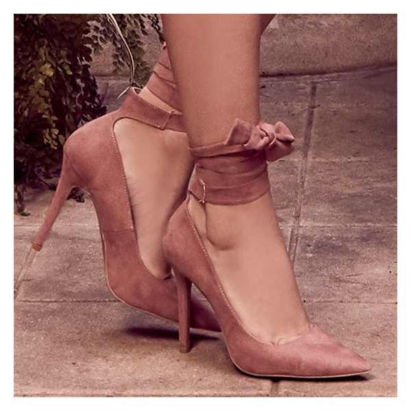 Nude Pink Strappy Heels Pointy Toe Suede Pumps Stiletto Heels image 3