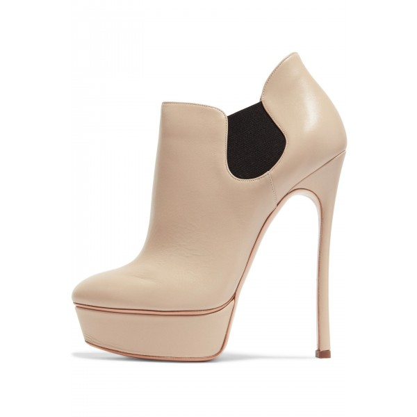 Nude Platform Boots Chelsea Stiletto Heel Ankle Boots image 2