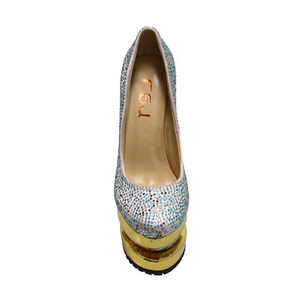 Luxury Prom Shoes Platform Pumps with Rhinestones image 2