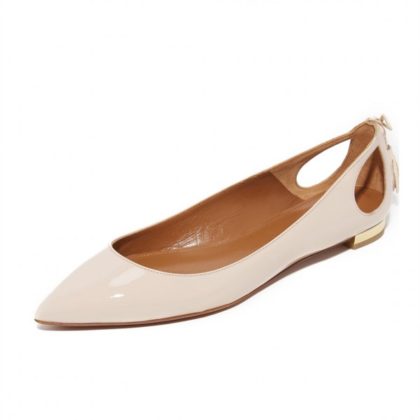 Nude Comfortable Flats Patent Leather Cut out Back Tassel Shoes image 6
