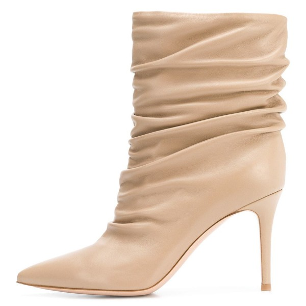 Nude Pointy Toe Stiletto Boots Fashion Slouch Boots image 3