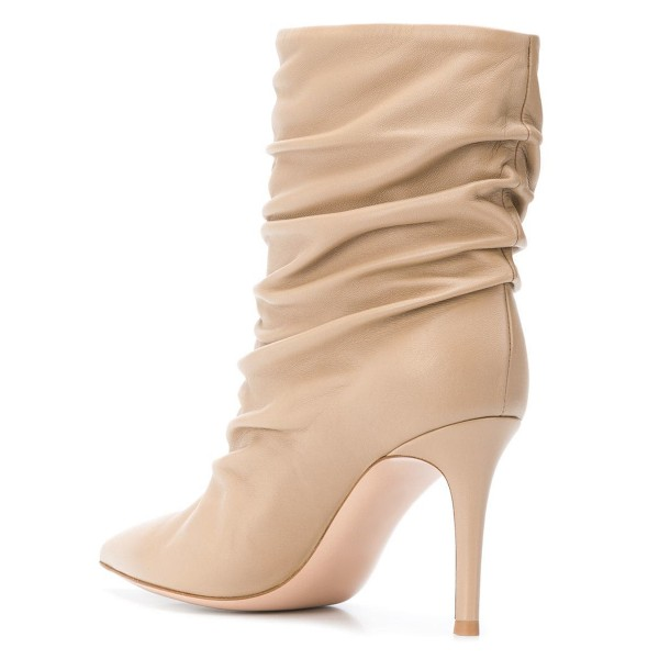 Nude Pointy Toe Stiletto Boots Fashion Slouch Boots image 2