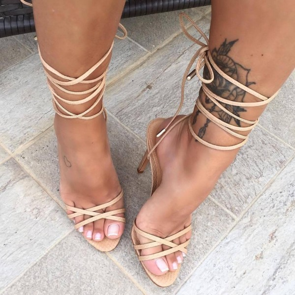 Nude Python Stiletto Heels Strappy Sandals For Party Music Festival Date Big Day Anniversary Fsj