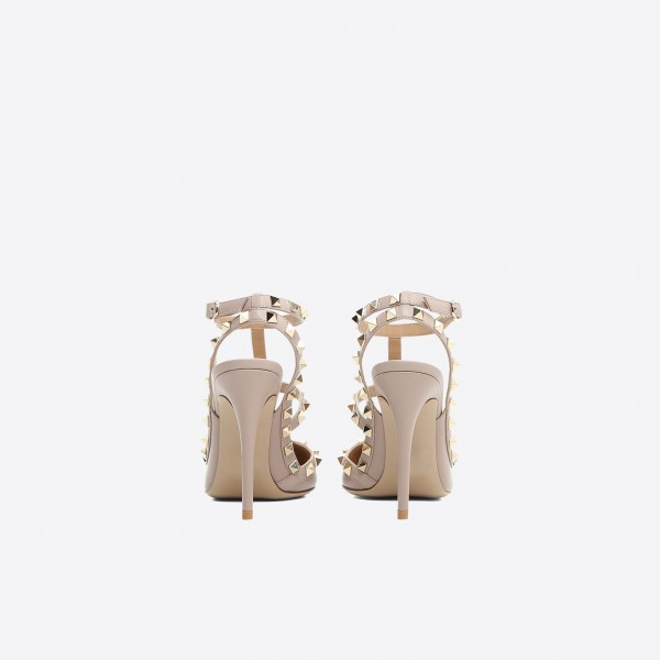 Nude Studs Shoes Slingback T Strap Stiletto Heel Pumps image 3