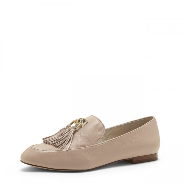 1c3ffa6f3bf Nude Round Toe Loafers for Women Comfortable Flats with Tassels image 1 ...