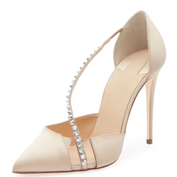 Beige Satin PVC Rivets Stiletto Heels Pumps for Wedding image 1