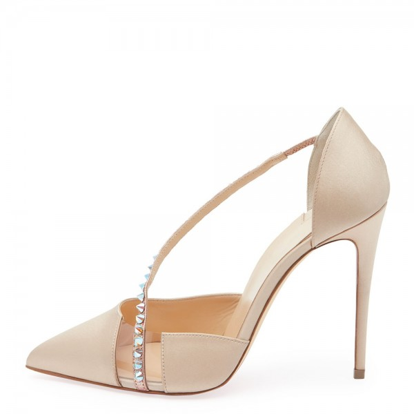 Beige Satin PVC Rivets Stiletto Heels Pumps for Wedding image 2