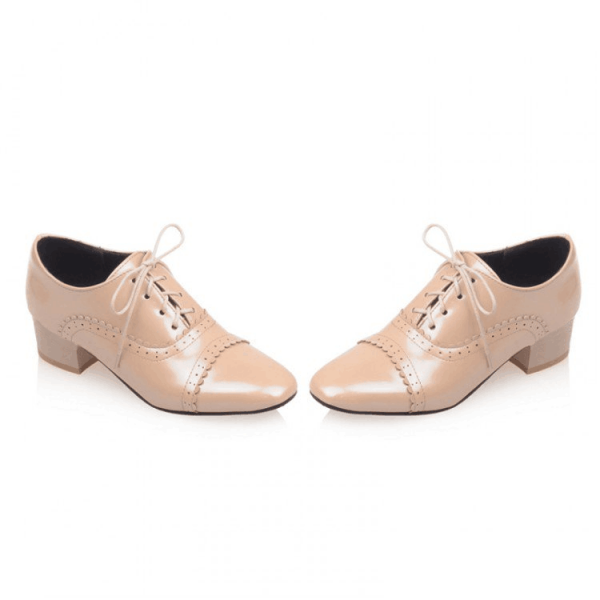 Nude Lace up Women's Oxfords Block Heel School Shoes US Size 3-15 image 3