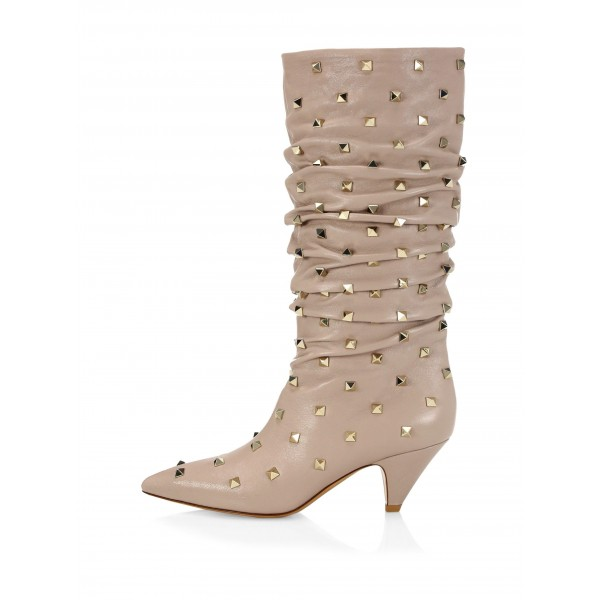 Nude Slouch Boots Studs Pointy Toe Kitten Heel Boots image 3