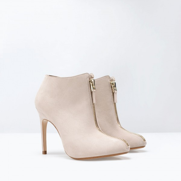 Nude Stiletto Boots Round Toe Suede Heeled Ankle Booties for Work image 4