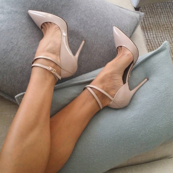 Nude Stiletto Heels Pointy Toe Ankle Strap Heel Pumps image 1