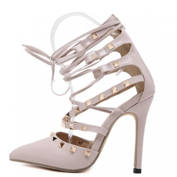 Nude Strappy Heels Pointed Toe Rivets Shoes Stiletto Heels Pumps image 2