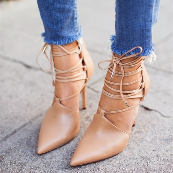 Women's Nude Strappy Heels Pointy Toe Stiletto Heel Pumps image 1