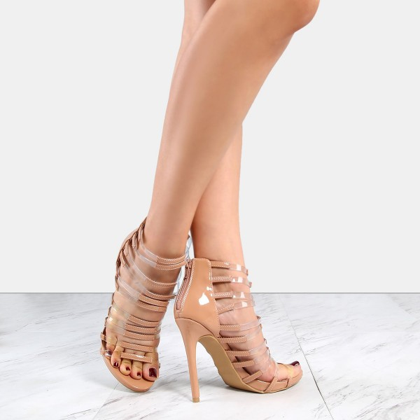 Nude Patent Leather and Clear Heels Open Toe Stiletto Heel Gladiators image 3