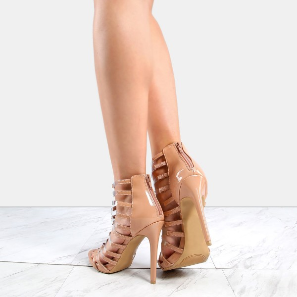 Nude Patent Leather and Clear Heels Open Toe Stiletto Heel Gladiators image 4