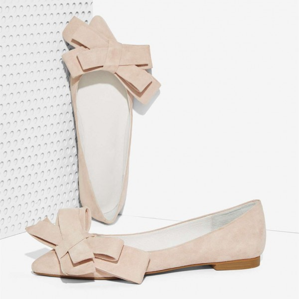 Nude Suede Bow Comfortable Flats for