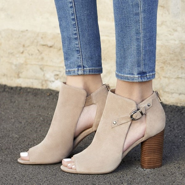 Beige Cut Out Boots Suede Cylindrical