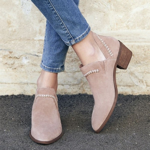Blush Cut Out Boots Suede Block Heel Vintage Short Boots image 1