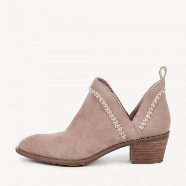 Blush Cut Out Boots Suede Block Heel Vintage Short Boots image 2