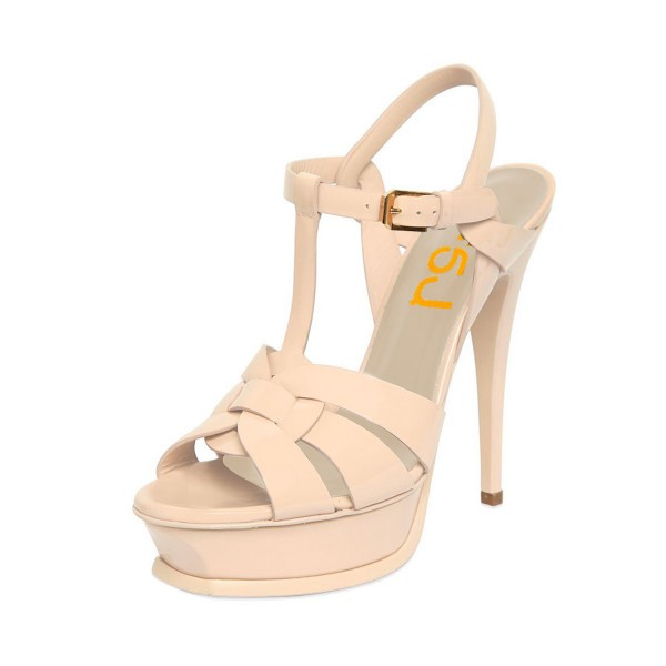 Women's Nude T-strap Platform Sandals Open Toe Stiletto Heels  image 1