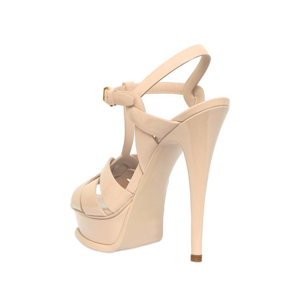 Women's Nude T-strap Platform Sandals Open Toe Stiletto Heels  image 2