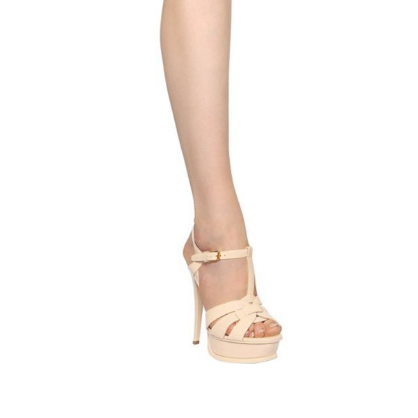 Women's Nude T-strap Platform Sandals Open Toe Stiletto Heels  image 5