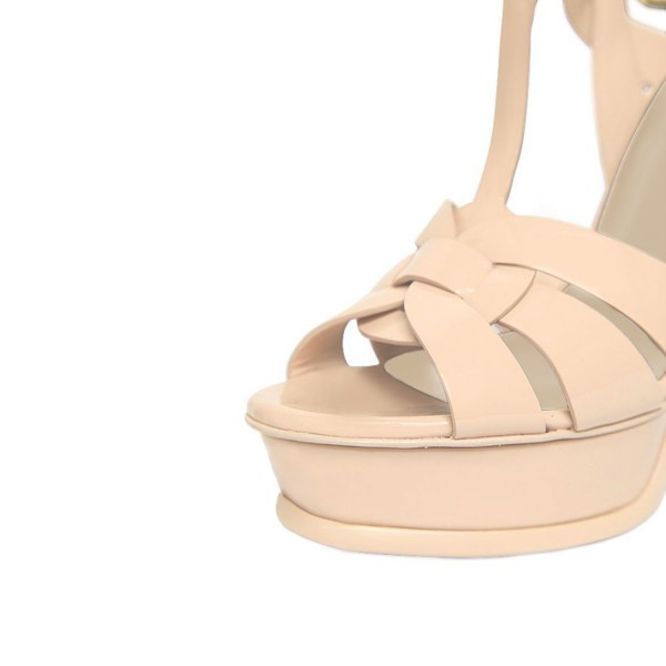 Women's Nude T-strap Platform Sandals Open Toe Stiletto Heels  image 3