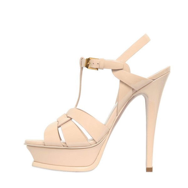 Women's Nude T-strap Platform Sandals Open Toe Stiletto Heels  image 4