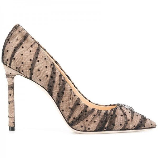 Nude Mesh Polka Dots Stiletto Heels Pumps Pointy Toe Sexy Heels image 3