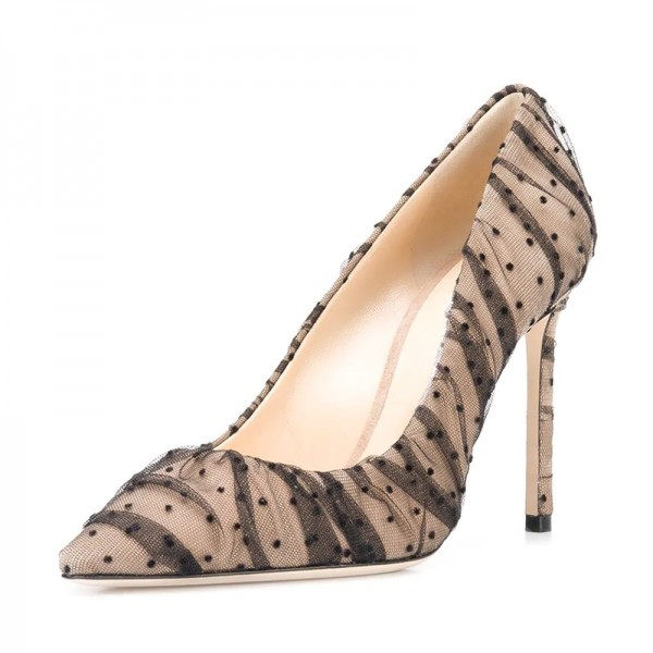 Nude Mesh Polka Dots Stiletto Heels Pumps Pointy Toe Sexy Heels image 1