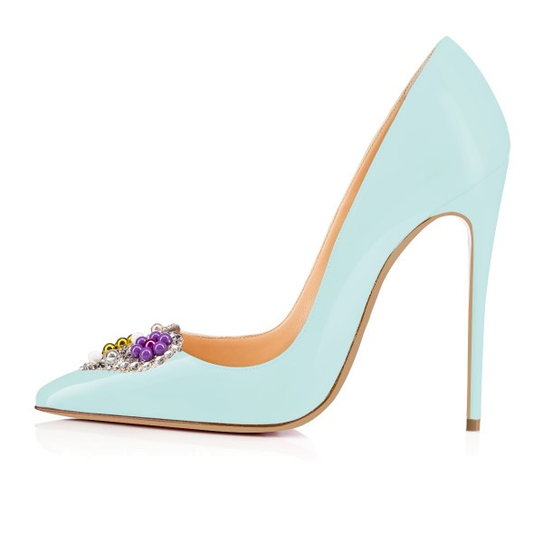 Aqua Shoes Patent Leather Stiletto Heel Pumps with Beaded Heart image 4