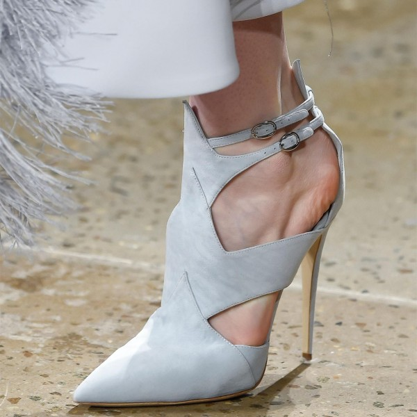 Off-white Suede Cut out Pointy Toe Stiletto Heel Buckle Summer Booties image 1