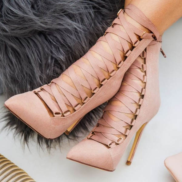 Old Pink Pointed Toe Lace up Ankle Booties Suede Stiletto Heels Boots image 1
