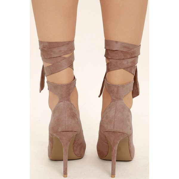 Taupe Strappy Heels Pointy Toe Suede Pumps Stiletto Heels image 3