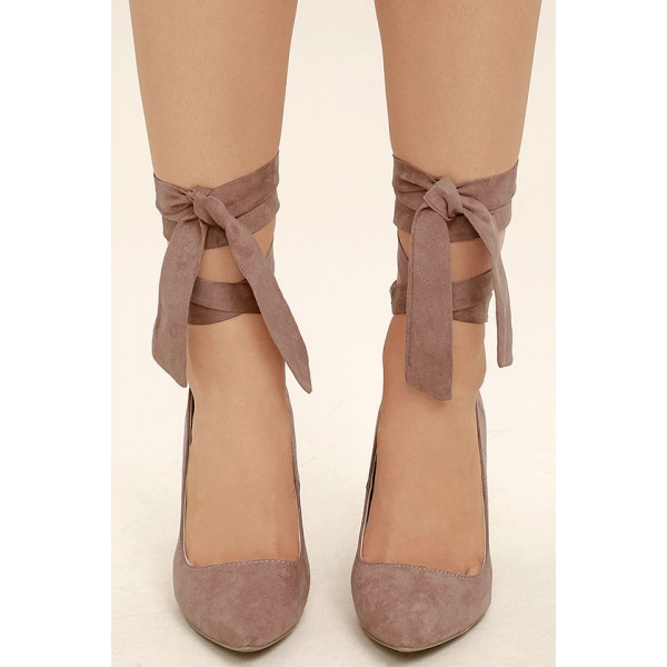 Taupe Strappy Heels Pointy Toe Suede Pumps Stiletto Heels image 2