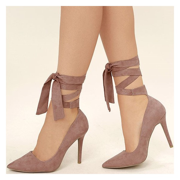 Taupe Strappy Heels Pointy Toe Suede Pumps Stiletto Heels image 1
