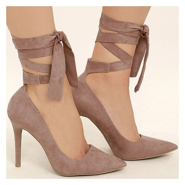 Taupe Strappy Heels Pointy Toe Suede Pumps Stiletto Heels image 4