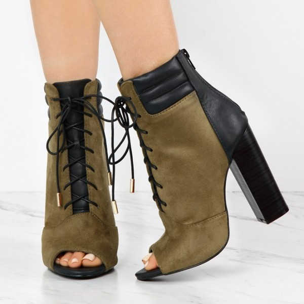 release date moderate price best quality Olive Green And Black Lace Up Boots Suede Peep Toe Chunky Heels Boots