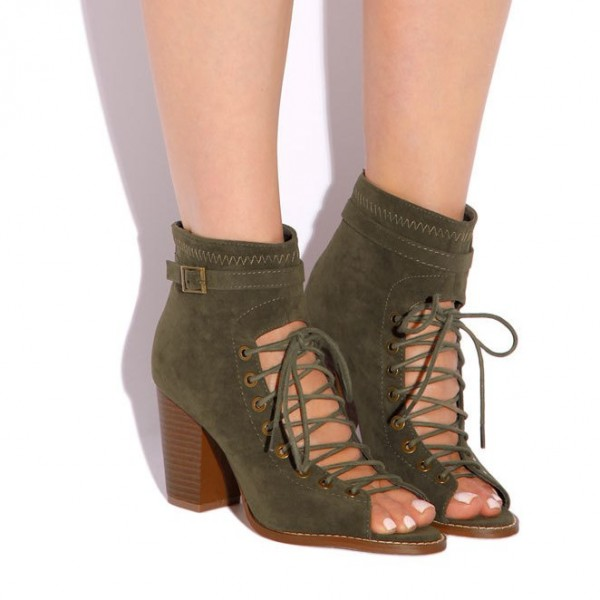 Olive Green Lace Up Boots Suede Peep Toe Heels Retro Buckle Boots image 2