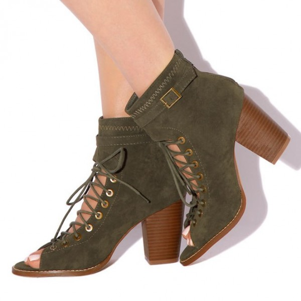 Olive Green Lace Up Boots Suede Peep Toe Heels Retro Buckle Boots image 1