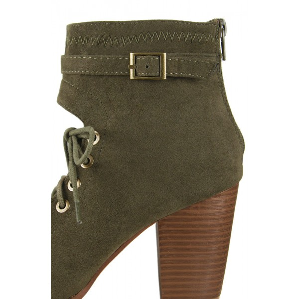 Olive Green Lace Up Boots Suede Peep Toe Heels Retro Buckle Boots image 3
